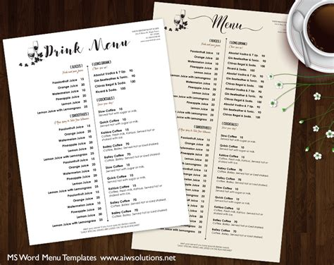 Design Templates Menu Templates Wedding Menu Food Menu Bar Menu Template Bar Menu Drink Menu Template