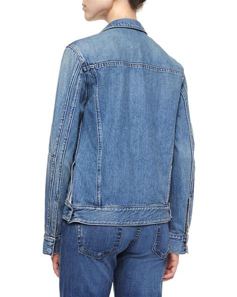 light blue distressed denim jacket helmut lang lightly distressed denim jacket in blue lyst