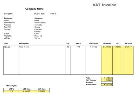 download vat invoice for free formtemplate