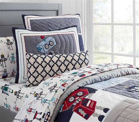 robot bedding robot quilted bedding pottery barn kids