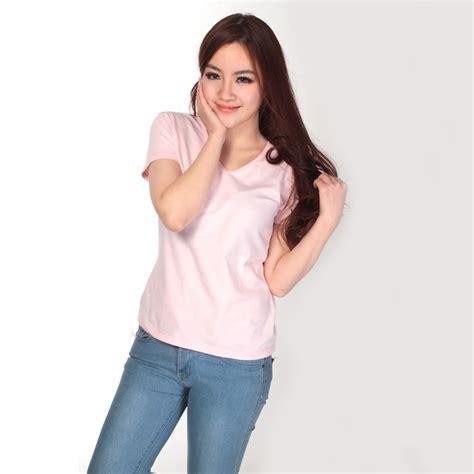 Kaos Polos Wanita Basic Tshirt Ovneck kaos polos katun wanita v neck size l 81105 t shirt pink jakartanotebook