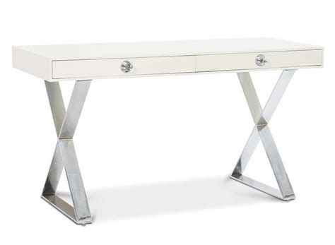 Pure White Secretary Desk With Metal Legs And 2 Drawer White Metal Desk