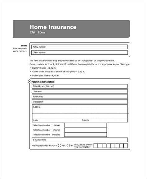 insurance claim form template claim form template