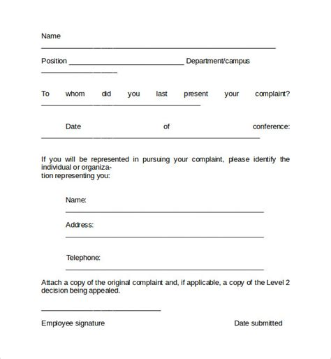 employee complaint template sle of complaint about caferrine employees studio