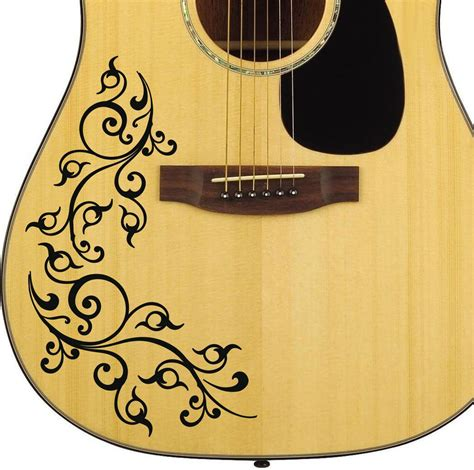 Stickers For Guitar pro acoustic floral swirl decal sticker for guitar bodies