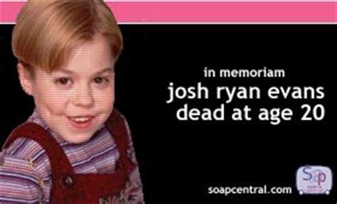 josh ryan evans death josh ryan evans dead at age 20 passions