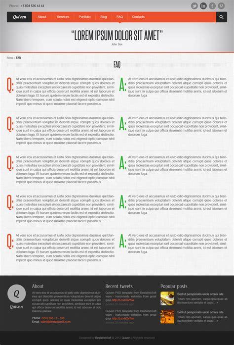themeforest faq quiven creative psd template by bestwebsoft themeforest
