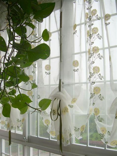 sheer cafe curtains kitchen country style embroidered sunflowers sheer voile cafe