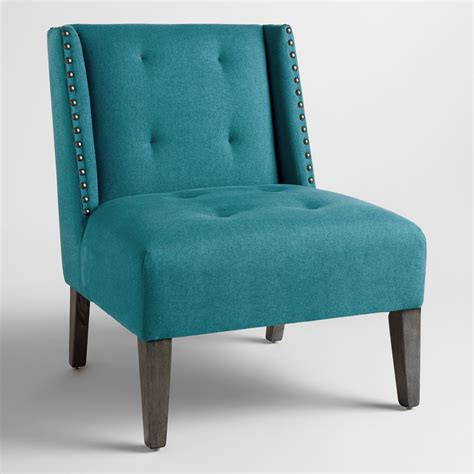 Blue Wingback Chair by Pacific Blue Carlin Wingback Chair World Market