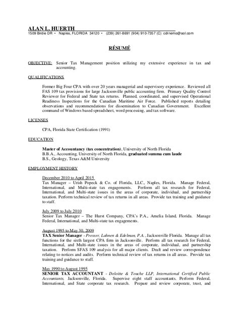 Senior Tax Manager Resume