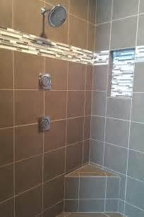 bathroom accent tile ideas contemporary taupe tile shower with horizontal mosaic