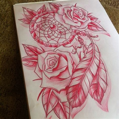 dreamcatcher with roses tattoo flowers and dreamcatcher drawings dreamcatcher with