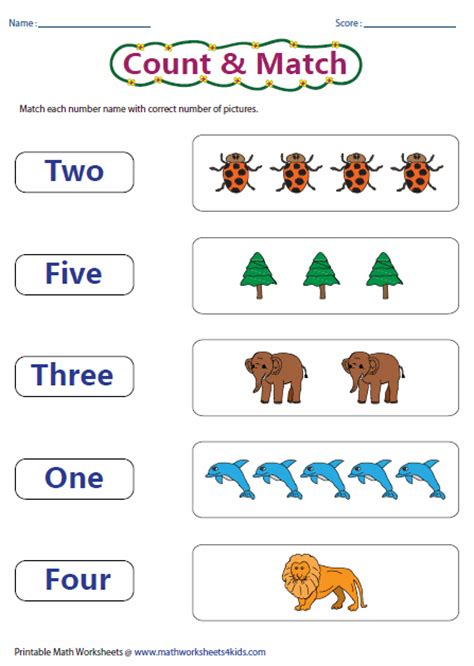 numbers 1 5 worksheets for kindergarten counting 1 5