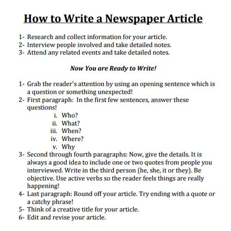 templates for writing newspaper articles newspaper article sle 8 documents in pdf word psd