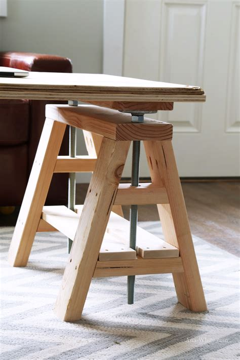 white modern indsutrial adjustable sawhorse desk to