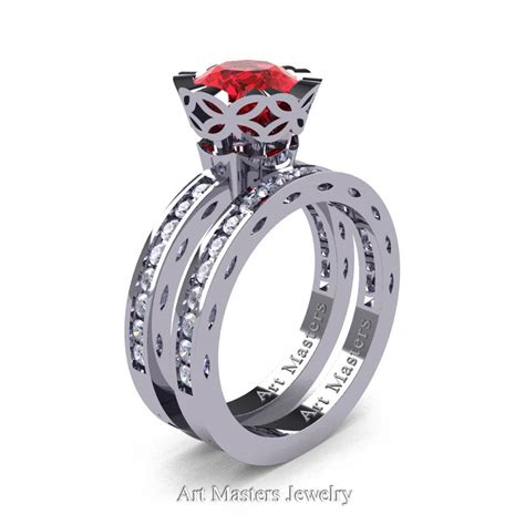 Wedding Rings With Rubies by Classic Armenian 14k White Gold 1 0 Ct Rubies