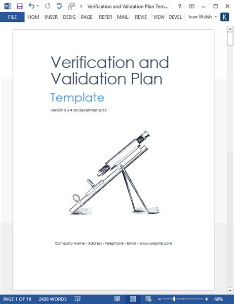 verification and validation plan download ms word template