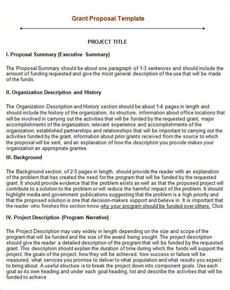 grant proposal template 12 download free documents in