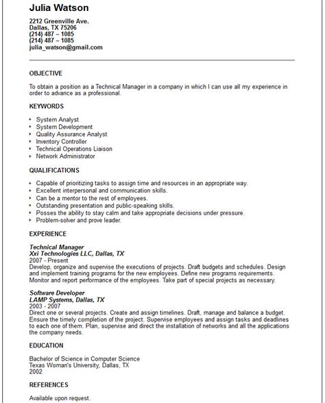 Resume Exles For Technical Technical Resume Exles