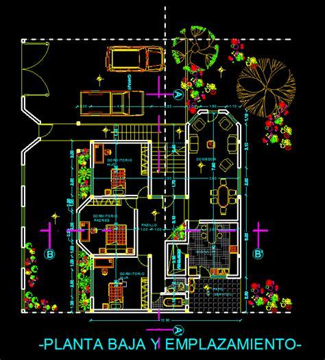 terraced houses garage dwg plan autocad designs cad