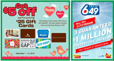 Old Navy Gift Card Canada - food basics canada flyer deals save 5 on 25 gift cards to gap old navy sears and