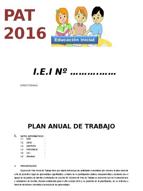 modelo plan de trabajo scribd newhairstylesformen2014 com plan anual de trabajo ed inicial 2016 modelo
