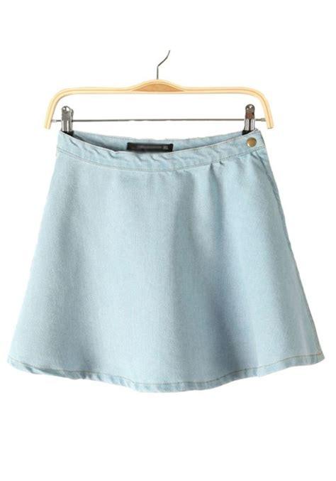 Botton Skirt Light Blue light blue button fly zipper denim skirt skirts bottoms