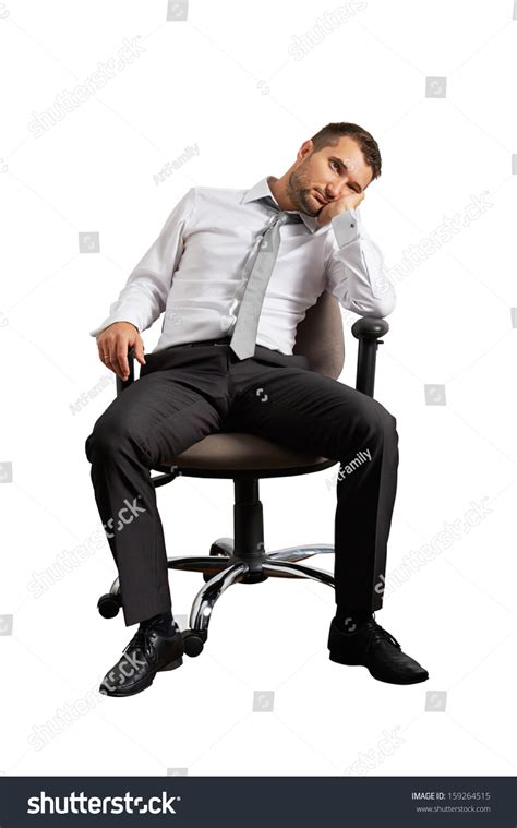 White Sitting Chair Bored Businessman Sitting On Office Chair Stock Photo