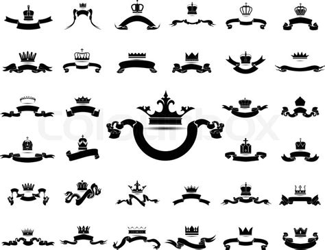 king and queen crown with ribbon silhouette icon set