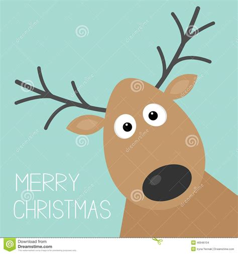 cute cartoon deer face  horn merry christmas background card flat design stock vector