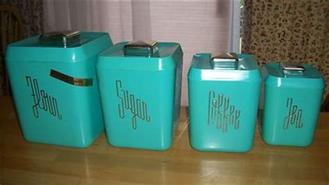 Teal Kitchen Canisters 613 147 Cool Retro Color Teal Set Of 4 Vintage Kitchen