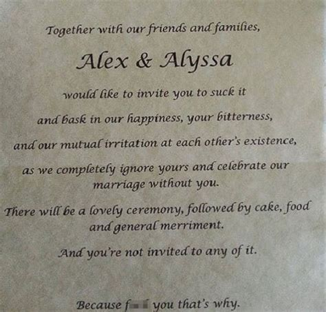 Wedding Announcement To Those Not Invited by S Scathing Wedding Invitation To Estranged Parents