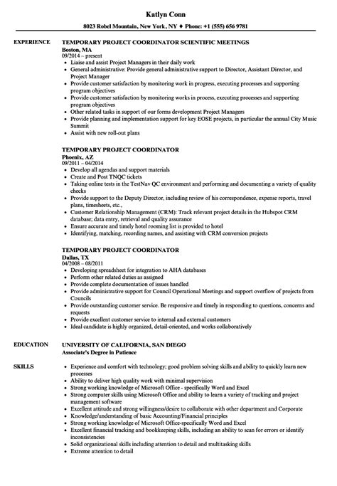 Project Coordinator Resume by Temporary Project Coordinator Resume Sles Velvet