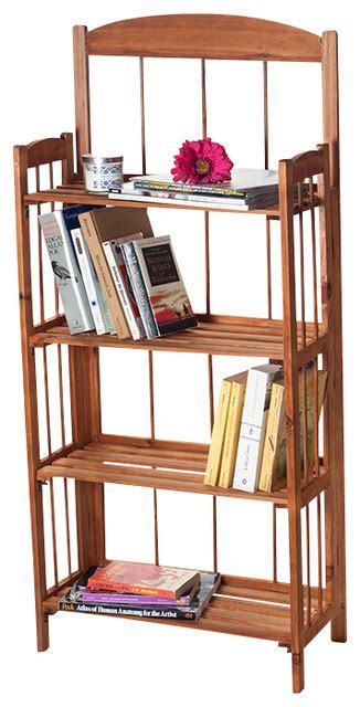 4 Foot High Bookcase by Lavish Home 4 Shelf Light Solid Wood Bookcase 4 High