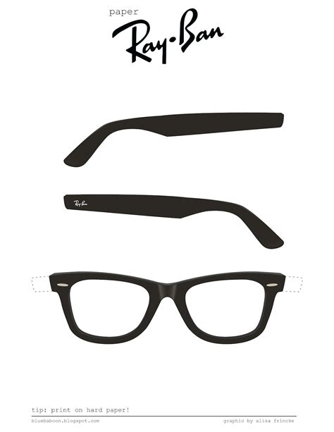 eyeglass template blue baboon paper ban glasses