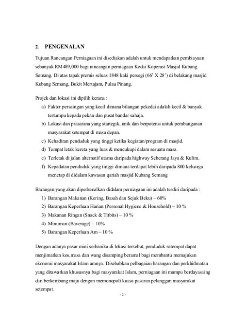 format proposal untuk memulakan perniagaan 37127698 contoh kertas kerja rancangan perniagaan koperasi
