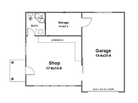 Garage Shop Floor Plans Garage Workshop Plans 1 Car Garage Workshop Plan 024g