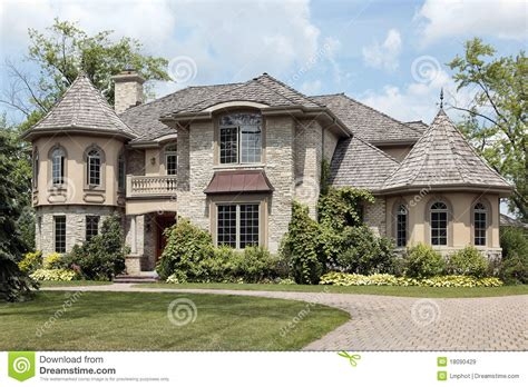Large Estate House Plans by Luxury Stone Home With Turret Royalty Free Stock Images