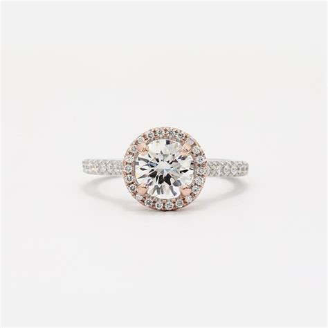 floating halo engagement ring in 14k white and
