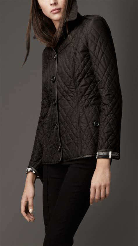 Burberry Leather Quilted Jacket by Burberry Leather Trim Quilted Jacket In Black Lyst