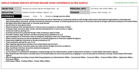 Foreign Service Officer Cover Letter by Foreign Service Officer Resume Sle Job101294
