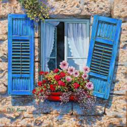Good Flowers For Window Boxes - blue window original oil painting on canvas by miki karni