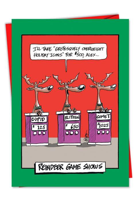 reindeer gameshow christmas card nobleworkscardscom