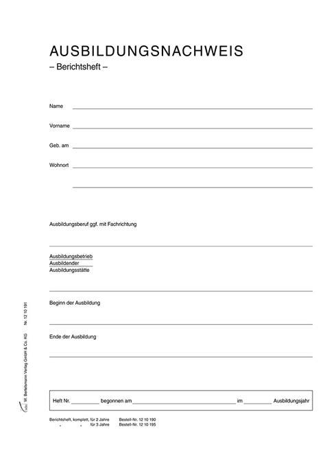 Berichtsheft Vorlage Praktikum Pdf ausbildungsnachweis deckblatt ihk anschreiben 2018