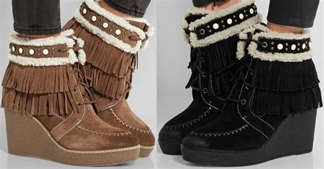 cold weather shearling lined fringed suede wedge boots