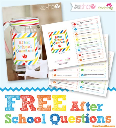 free printable after school questions