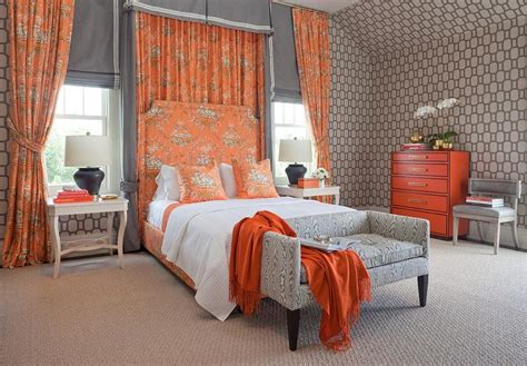 orange curtains for bedroom pink and orange toile curtains design ideas