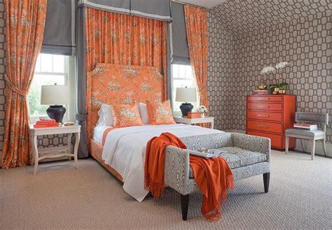 orange bedroom curtains pink and orange toile curtains design ideas
