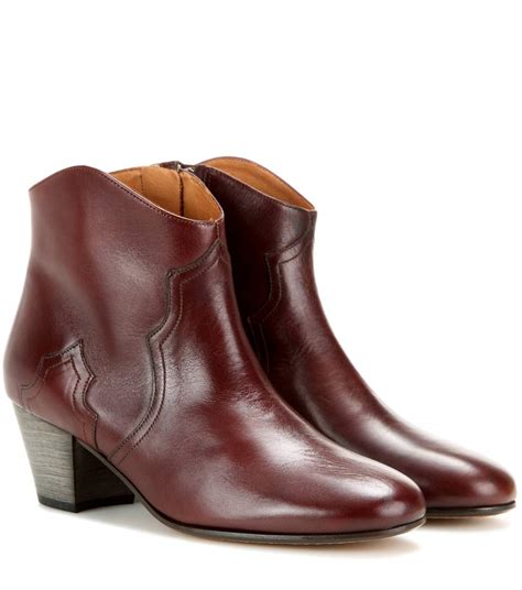 dicker boots 201 toile dicker leather ankle boots marant