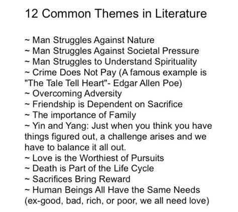 themes list read it write it tell it common themes in literature reading theme pinterest